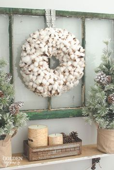 Winter farmhouse look with cotton wreath