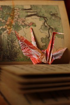 The Story Time Book crane by TheDig - origami crane -Japan Origami Folding, Paper Folding, 1000 Paper Cranes, Japanese Crane, Paper Magic, Paper Book, Nature Adventure, Story Time, Japan Travel