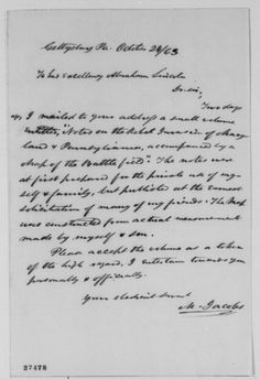 Michael Jacobs to Abraham Lincoln, Saturday, October 24, 1863 (Sends book on Gettysburg)