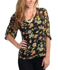 Take+a+look+at+the+24|7+Frenzy+Black+&+Yellow+Sheer+Floral+Scoop+Neck+Top+on+#zulily+today!
