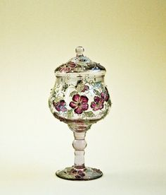 Hand Painted Centerpiece, Glass Candy Dish Stemmed With Lid, Compote Lidded Apothecary Jar, Pedestal Bowl, HAND PAINTED