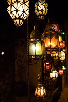 Unique Ornamental Hanging Lanterns- Beautiful! Would love this in a cozy little corner with a leather Chaise Lounge.... Just because