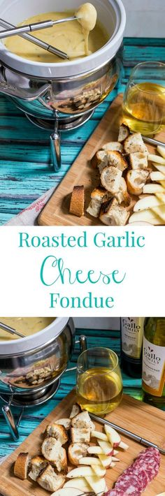 Roasted Garlic Cheese Fondue - The Girl in the Little Red Kitchen Roasted Garlic Cheese Fondue Fondue Recipes, Cooking Recipes, Fondue Ideas, Cheese Recipes, Copycat Recipes, Easy Recipes, Dip Recipes, Beef Recipes, Cooking Tips