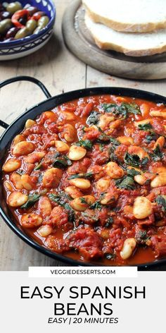 These Spanish beans with tomatoes and smokey sweet spices are so easy to make in one pot in less than 20 minutes with just 7 ingredients. Only 125 calories per serving, this Spanish bean stew recipe… Vegan Dinner Recipes, Vegetarian Recipes Easy, Vegan Dinners, Kitchen Recipes, Side Dish Recipes, Vegetable Recipes, Cooking Recipes, Healthy Recipes, Vegan Vegetarian