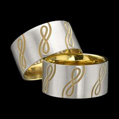 Infinity ring by Adam Neeley. Infinity ring is precious and everlasting. Crafted in platinum layered over 22 karat gold, this design features a carved infinity motif revealing the ring's inner warmth. Platinum Ring Price, Gold Platinum, Modern Jewelry, Jewelry Art, Jewelry Design, Designer Jewelry, Gold Price Chart, White Gold Jewelry, Blue Sapphire Rings