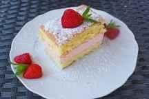Erdbeerschnitte Gelatine, Cheesecake, Desserts, Food, Recipies, Biscuit, Strawberries, Bakken, Tailgate Desserts