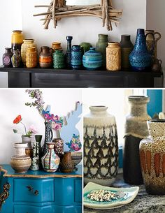 Love the textural vases in the top picture! The different shapes, colors and textures in the tight group.