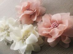 DOMINIKE pale pink shiffon flower hair clip by maryandangelika, via Etsy.