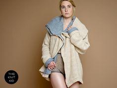 knit sweater jacket coat bulky beige grey merino by theknitkid, €849.90