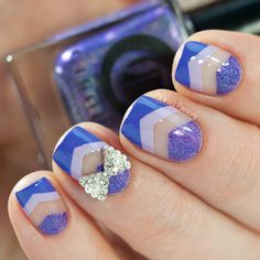 40 Great Nail Art Ideas – Negative Space Nails – 3 Shades of Purple