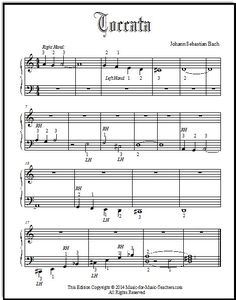 Toccata in D minor by J.S. Bach.  This is the famous melody fragment almost everyone knows - and that all kids wish to play on the piano!  Give this printable, simple arrangement to your beginning piano students, FREE!