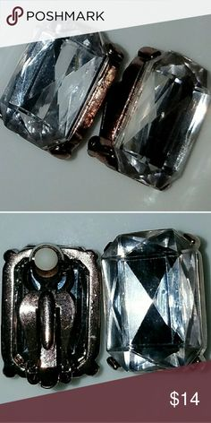 """Large Rhinestone Earrings Clip Ons You were born to sparkle!  Clip on earrings large rhinestones.: 1"""" x 3/4"""". Lightweight even though large. 3 spots on foil backing barely visible but I like to mention everything. They have the comfort pads on the clip part.  Rhinestone Earrings / Silver Earrings / Party Earrings Jewelry Earrings"""