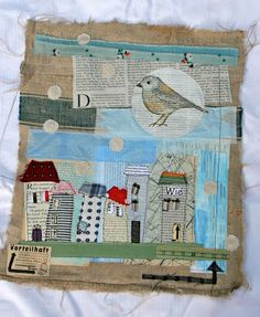 Bird with stiched houses
