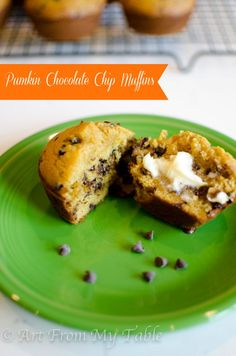Pumpkin chocolate chip muffins are moist, delicious, and full of fall flavor.