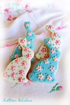 Shabby Chic Easter Bunny Cookies by SullivanBakehouse on Etsy, $15.00