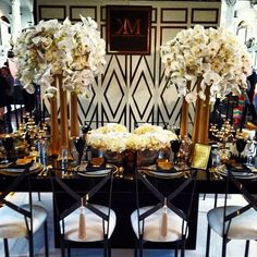 Black and Gold wedding reception #chic