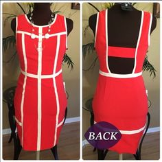 Ark & Co  Coral Dress Beautiful coral dress with white pin striping✨the back is open just gorgeous. Worn once, excellent condition Size Small Ark & Co Dresses Midi