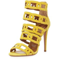Aquazzura Chain Me Up Open-Toe Suede Bootie ($547) ❤ liked on Polyvore featuring shoes, boots, ankle booties, heels, sandals, yellow, peep toe heel booties, heeled ankle boots, high heel booties and high heel boots