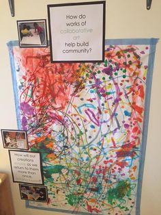 How do works of collaborative art help build community? I LOVE the whole concept of this display. I want to apply this to group boards for science classrooms! Kindergarten Art, Preschool Art, Reggio Emilia, Reggio Classroom, Collaborative Art Projects, Art Area, E Mc2, Group Art, Expressive Art