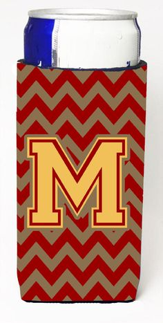 Letter M Chevron Garnet and Gold Ultra Beverage Insulators for slim cans CJ1048-MMUK