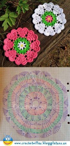 Crochet Square Off Heart Manda Hobby na Stylowi. This Pin was discovered by mar Discover thousands of images about Crochet coasters. Beautiful granny square with pattern Crochet Diagram, Crochet Chart, Thread Crochet, Crochet Motif, Crochet Doilies, Easy Crochet, Crochet Stitches, Crochet Coaster, Crochet Granny