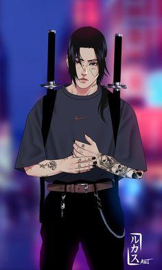 """Made by """"rukasu art"""" Naruto Uzumaki Shippuden, Naruto Shippuden Sasuke, Itachi Uchiha, Anime Naruto, Naruto Fan Art, Naruto Comic, Naruto Boys, Wallpaper Naruto Shippuden, Naruto Cute"""