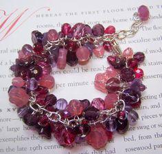 SALE, Pink and Purple Cha Cha Bracelet, Fringe Bracelet, Free Shipping