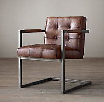 "$495 Cantilevered frame built of distressed steel square-stock tubing Seat and back are generously padded and deeply button tufted Leather-wrapped metal arms Inner springs support the seat Wrapped in premium Italian leather with a supple, distressed finish DIMENSIONS 29""W x 24""D x 32""H"