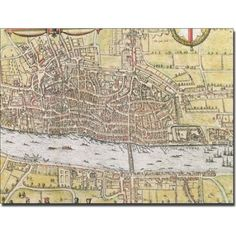Trademark Art 'Map of London, 1572' Canvas Art, Size: 18 x 24, Multicolor