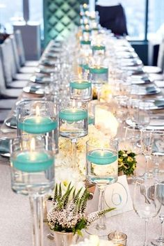 Tiffany blue color fits well with a multitude of colors and looks amazing in wedding decor. Here are some ideas of Tiffany blue wedding decorations. Tiffany Blue Weddings, Tiffany Wedding, Mod Wedding, Wedding Table, Wedding Ideas, Trendy Wedding, Wedding Poses, Chic Wedding, Wedding Planning