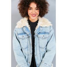 BDG Faux Fur Lined Denim Trucker Jacket (160 AUD) ❤ liked on Polyvore featuring outerwear, jackets, blue jean jacket, oversized denim jacket, denim jacket, oversized jean jacket and button jacket