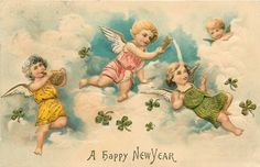 Postcard Embossed Gilt card Angels in Clouds A Happy New Year