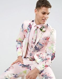 Find the best selection of ASOS Wedding Super Skinny Suit Pants With Nude Floral Print. Shop today with free delivery and returns (Ts&Cs apply) with ASOS! Best Mens Fashion, Suit Fashion, Look Fashion, Fashion Guide, Fashion Blogs, High Fashion, Best Suits For Men, Cool Suits, Mens Suits