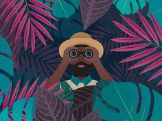 Jungle Explorer designed by Rebecca Langford. Connect with them on Dribbble; Circle Logo Design, Circle Logos, Art And Illustration, Jungle Drawing, Formal Cooler Ideas, New Media Art, Jungle Safari, Medium Art, Character Design