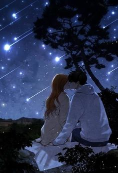 Anime Couples Kissing under shooting stars Couple Amour Anime, Couple Manga, Anime Couple Kiss, Cute Couple Art, Couple Cartoon, Cute Anime Couples, Anime Amor, Couple Illustration, Couple Drawings