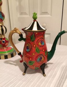 Painted silver teapot tea pot red flowers whimsical                                                                                                                                                                                 More