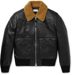 Coach - Shearling-Trimmed Leather Bomber Jacket