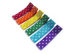 This item is Made To Order. Please see my shop announcement for current turn around time. • This listing is for a set of six Rainbow Polka Dot Lined Hair Clips. • This set of six 1 3/4 alligator clips have been partially lined in rainbow red, orange, yellow, green, turquoise blue,