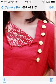 Looking for beautiful neck designs for plain Kurtis/Kurthas ? Here are 20 flattering designs that can add a dash of style to your kurti style. Salwar Neck Designs, Kurta Neck Design, Neckline Designs, Dress Neck Designs, Kurta Designs, Sleeve Designs, Blouse Designs, Kurti Patterns, Dress Patterns
