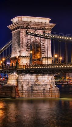 Chain Bridge, Budapest. This chain bridge spans the River Danube between Buda and Pest, the eastern and western sides of Budapest, the capital of Hungary.