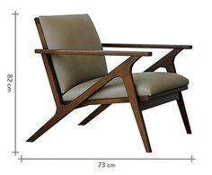 Material Estrutura: Madeira Tauari / Estofado: Espuma D-28 e D-20 Revestida em Chenille / Acabamento: Fosco Medidas Largura: 73 cm x Altura: 82 cm x Profundidade: 85 cm