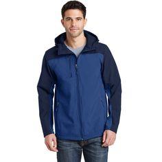 Port Authority Men's Night Sky Blue/Dress Blue Navy Hooded Core Soft Shell Jacket