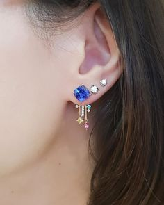 """We must have spent 9 months or more sourcing for the """"right"""" pair of bright, vivid blue tanzanites and designing this exquisite and… Gemstone Earrings, Diamond Earrings, 9th Month, Must Haves, Singapore, Bright, Pairs, Gemstones, Blue"""