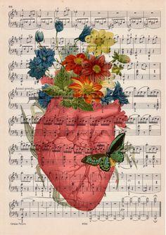 Corazón humano venta rosa de primavera con flores sobre por PRRINT