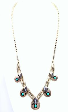 Navajo Shadowbox Turquoise Necklace Sterling Silver – Yourgreatfinds