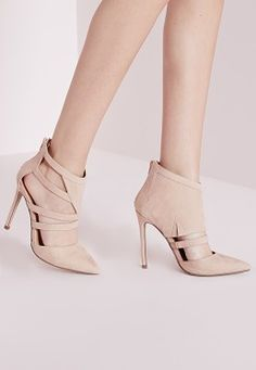 0b6bd4bdd5f Geometric Cut Out Court Shoes Nude Nude Shoes