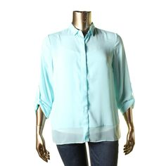 T Tahari Womens Georgette Button-Down Blouse