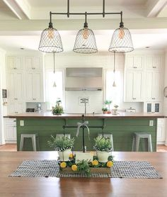 Traditional country kitchens are a design option that is often referred to as being timeless. Over the years, many people have found a traditional country kitchen design is just what they desire so they feel more at home in their kitchen. Painted Kitchen Island, Green Kitchen Island, Kitchen Paint, Kitchen Redo, Kitchen Dining, Kitchen Remodel, Kitchen Ideas, Painted Island, Pantry Ideas