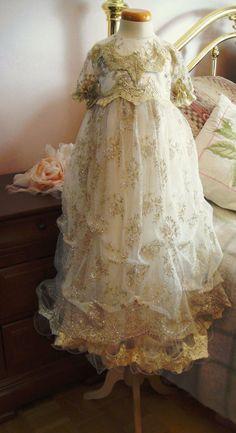 Christening dress baptism dress flowergirl dress by Threads2Trends, $300.00