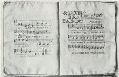 Embroidered Song Book, 1530 - This songbook was commissioned in Augsburg for the marriage of Charles V in Bologna in 1530. There are four books in the set. One for each of the voices of the song. The one illustrated to the right is the title page for the Counter Tenor part.